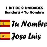 Pegatina Vinilo Bandera España + tu Nombre - Bici, Casco, Pala De Padel, Monopatin, Coche, Moto, etc. Kit de Dos Vinilos (Pac