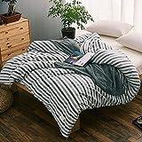 WYQLZ Modèle de style japonais, bon produit, rayure bleue, motif, lavé, couvre-matelas, couvre, unique, pièce, tricot, couvre-couverture ( taille : 160*210cm )