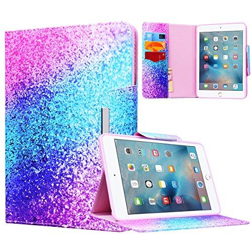 Yokata Apple iPad Mini 1 / Mini2 / Mini3 Hülle Case Schutzhülle Tasche mit Standfunktion und Auto Sleep / Wake Up Funktion Slim Ultra Dünn Hochwertiges PU Leder Etui Ledertasche für iPad Mini 1 / Mini2 / Mini3 (7,9 Zoll) Tablet Etui - Regenbogen und Sand