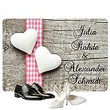 Geschenke 24: Personalisierte Fußmatte Romantik - Fußmatten mit Namen bedrucken - romantisches Pärchen Geschenk mit Personalisierung