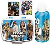 3 tlg. STAR WARS Set - Brotdose + Alu-Trinkflasche + 16 Aufkleber - Motiv: R2-D2, Chewbacca, Han Solo, C-3PO - Lunchbox / Sportflasche
