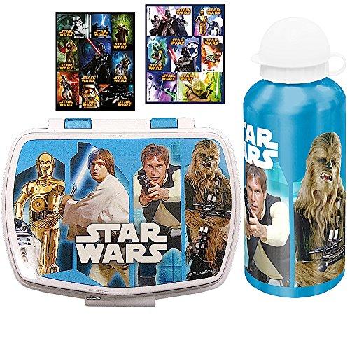 3 tlg. STAR WARS Set - Brotdose + Alu-Trinkflasche + 16 Aufkleber - Motiv: R2-D2, Chewbacca, Han Solo, C-3PO - Lunchbox / Sportflasche (Luke Skywalker Episode 5 Kostüm)