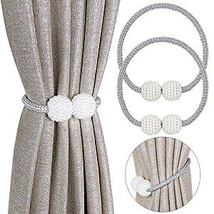 Pinowu Vorhang Raffhalter Magnetisch (2 Stück), Vorhanghalter Elegante Perlenperle Holdbacks Gardinenklammern mit Starken Magnet für Heimtextilien (Grau)
