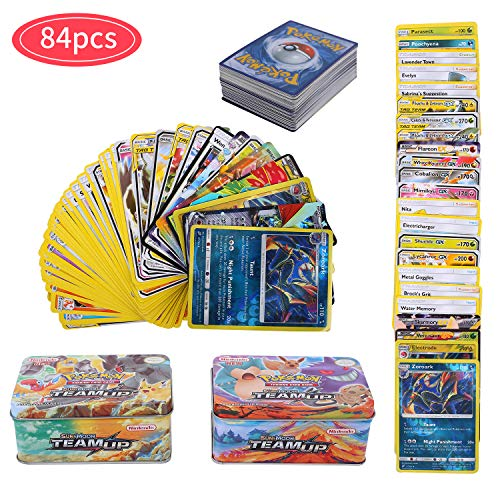 84Pcs Carte de Pokemon Jeux de Cartes, GX Cartes EX Energy Trainer Cartes, Pokemon Flash Cartes, Sun & Moon Series, TeamUp (Style aléatoire)