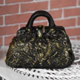 The Dolls House Emporium Black & 'Gold' Carpet Bag (PR)