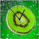 Wallario Glas-Uhr Echtglas Wanduhr Motivuhr • in Premium-Qualität • Größe: 30x30cm • Motiv: Grüne Kiwi-Scheibe im Wasser