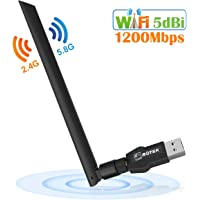 ROTEK WLAN Stick, USB WiFi Adapter 1200Mbps, USB 3.0 WLAN Empfänger mit 5dBi Antenne für PC/Desktop/Laptop, WLAN Dongle Dualband 5G/867Mbps+2.4G/300Mbps, Unterstützung Windows XP/Vista/7/8/10 Mac OS