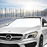 Frost Windshield Cover, Migimi Car Windscreen Snow Cover for Winter Snow Removal, Car Windshield Sunshade, Ice and Frost Guard Fits SUV, Truck & Car Windshields, Magnetic Snow Multi-used as Outdoors Picnic Mats (215*125CM)