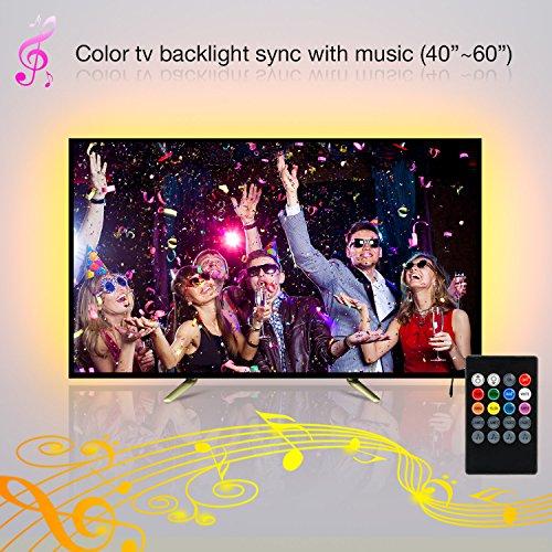 TV Led Hintergrundbeleuchtung,2M/6.56Ft SMD 5050 USB Musik Led Stripe hintergrundbeleuchtung fernseher usb with Fernbedienung für40 bis 60 Zoll HDTV, led beleuchtung tv.