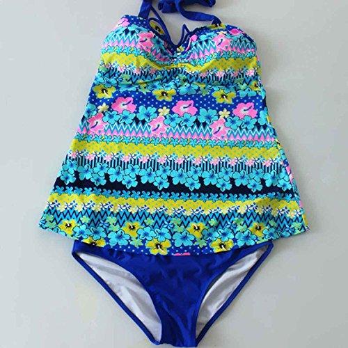 Feoya Damen Schöner Zweiteiliger Elastischer Neckholder Hohe Taille Badeabzug Tankini mit Slip - Geblümt In Verschiedenen Farben Blau