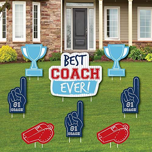 Big Dot of Happiness Best Coach Ever - Yard Schild und Outdoor Rasen Dekoration - Coach Appreciation Yard Schilder - Set von 8