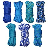 Lot de 7 Bleu Paracorde Lot DIY 550 Paracorde Bracelet Corde Corde de nylon de...