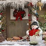 YongFoto 1,5x1,5m Foto Hintergrund Weihnachten Girlande Bälle Schneemann Kürbis Tür Weihnachtsdekoration Fotografie Hintergrund Foto Leinwand Kinder Fotostudio 150x150cm