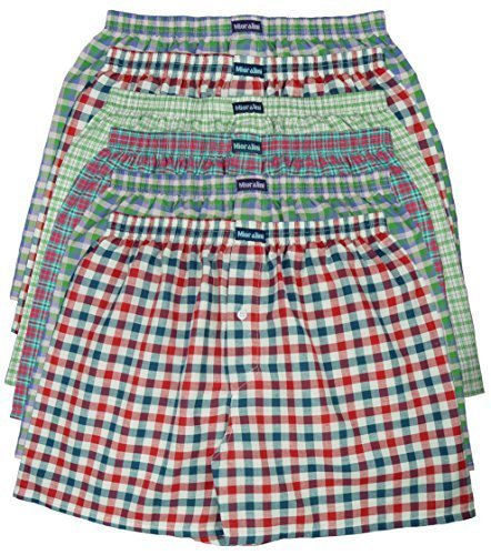 6 MioRalini 100% Baumwolle & lockere US Style Webboxer Boxershorts in 6 Farben karierten Mustern, Herren Boxershort Boys Short Jungen Boxer gewebte (M-5, Muster 04) Damen-unterwäsche Jungen, Shorts Pack