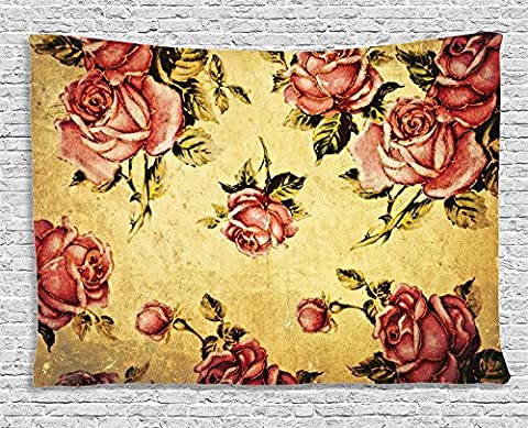 Roses Decor Tapestry, Old-Fashioned Victorian Style Rose Pattern With Dramatic