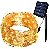 Solarmks Solar String Lights ,8 Modes 150 LED Christmas Lights Copper Wired Solar Starry String Lights Durable Fairy Outdoor String Lights For Garden Party(Warm White)