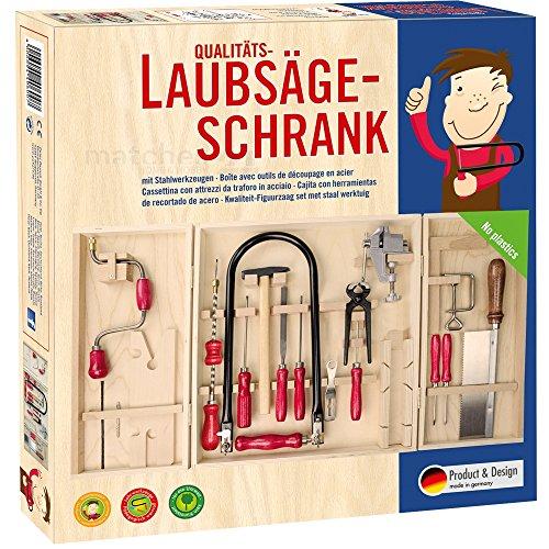 matches21 Großer Kinder Öko-Werkzeugschrank inkl. Laubsägebogen, Bohrmaschine, Stahl...