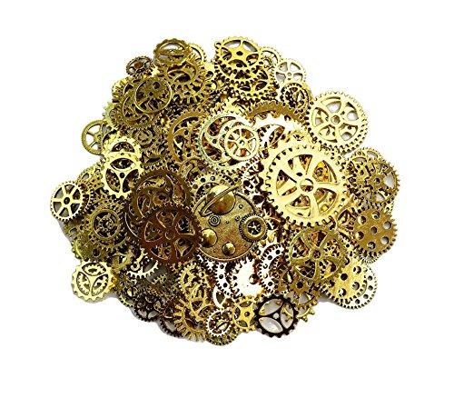 DaoRier 80pcs Zahnraeder Antike Retro Steampunk Armbanduhr Zubehör Zahnrad Sets (Altes Gold)