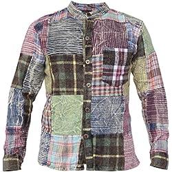 Little Kathmandu Hombres Invierno Algodón Patchwork Hippie Camisa 4XL