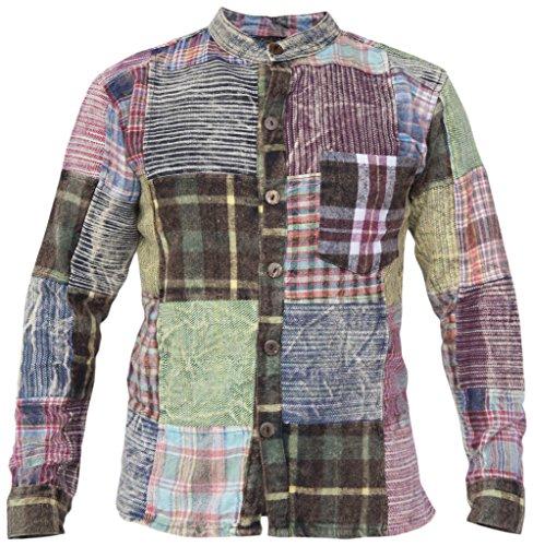 Little Kathmandu Herren Patchwork Winter Kragenloses Hemd Karohemd Shirt 5XL