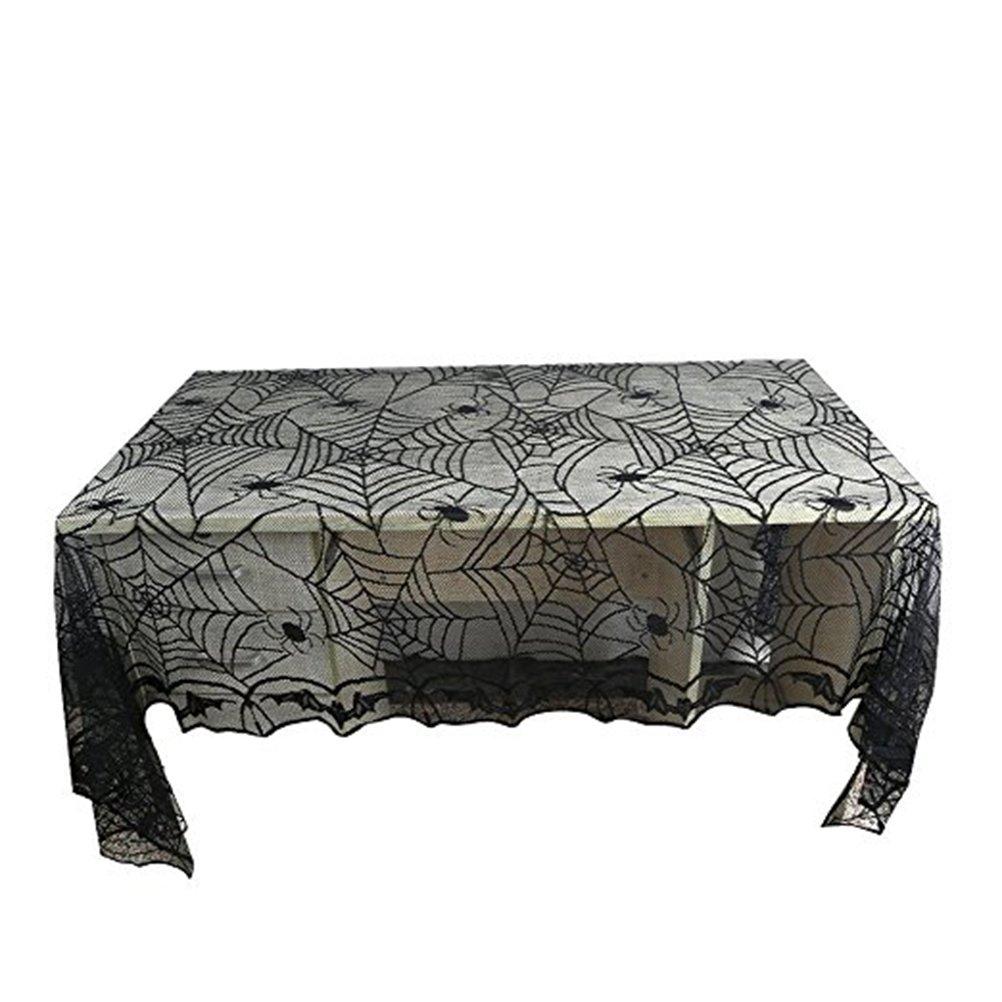 Tinksky Tischdecke Spider Web Tischdecke Halloween Creepy Tischdecke Stoff für klassische Halloween Dekorationen…