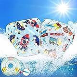 3-in-1 Kit, Pannolini nuoto riutilizzabili per bambini, Swimdiaper, Taglia regolabile (0-3 anni) & Baby Nuoto Anello (3-12 Mesi), Ideale per piscina, mare (F -Set, 0-3 anni)