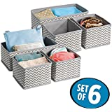 mDesign Fabric Storage Boxes - Suitable for Dressers, Drawers and Wardrobes - Pack of 6 Boxes - Ideal Wardrobe Storage Solutions - High Quality Flexible Storage Cubes - Grey / White Zigzag