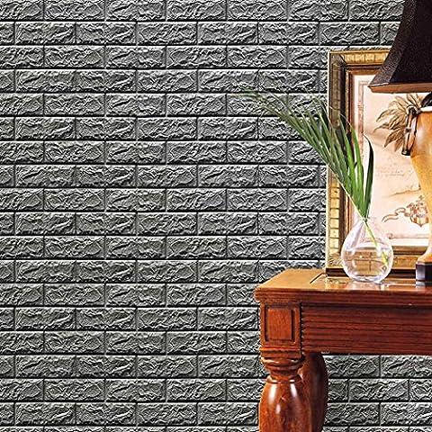 sunnymi Mode ★ 3D Wallpaper PE Foam Fliesen Wandaufkleber ★DIY Wand-Aufkleber-Wand-Dekor prägeartiger Ziegelstein-Stein (Groß Grau)