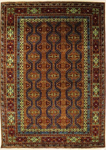 RugsTC 218 x 317 Chobi Ziegler Area Rug Made Using Vegetable Dyes with Wool Pile - Ziegler Tribal Design Hand-Knotted in Brown,Blue | 213 x 305 Rectangular Double Knot Rug -