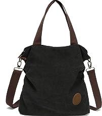 Myhozee Damen Canvas Handtasche - Umhängetasche Henkeltasche Schultertasche Messengertasche Crossover Bag für Mädchen Schule Frauen Shopper Schule Einkäufe