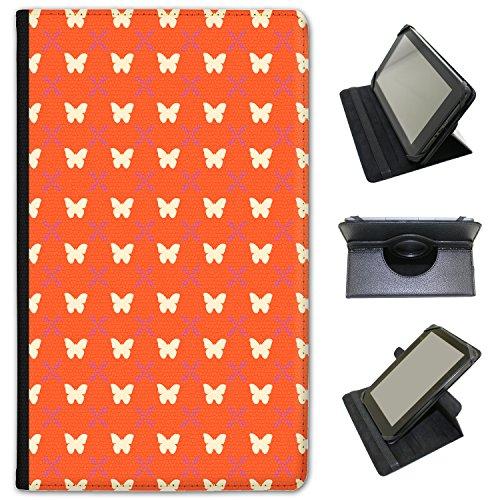 Farfalle, cerchi e fiori in pelle sintetica con funzione di supporto per Lenovo Tablet nero Stunning Butterfly On Orange Lenovo Tab 2 A7 7 inch
