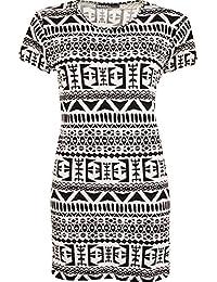 New Womens Plus Print Baggy Oversized Short Sleeve Long T-Shirt Ladies Top - 16-26
