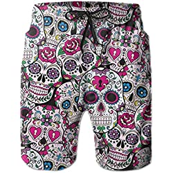 Mens swim trunks summer cool sugar skull pattern quick dry board shorts bathing suit with side pockets