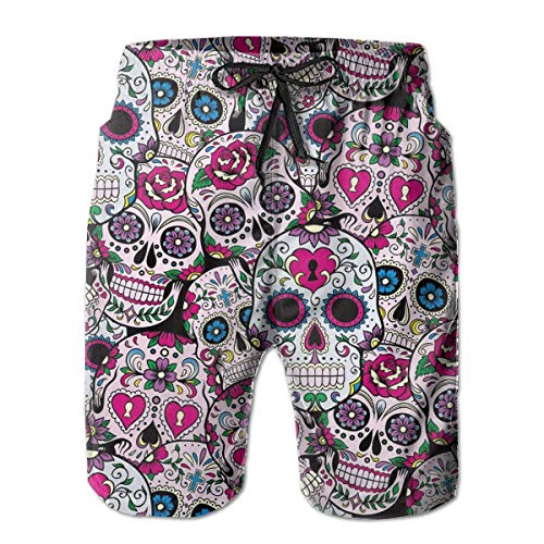 Azfaiop Mens Swim Trunks Summer Cool Sugar Skull Pattern Quick Dry Board Shorts Bathing Suit with Side Pockets X-L -