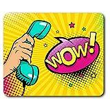 Confortable Tapis de Souris - Pop Art Téléphone Wow Comic 23,5 x 19,6 cm (9,3 x 7,7 Pouces) pour Les Ordinateurs et Ordinateurs Portables, de Bureau, Cadeaux, Base antidérapante - RM24584