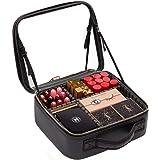 حقيبة مكياج كبيرة مقاس 40.64 سم مع مرآة، حقيبة مكياج كبيرة للغاية مع مساحة تخزين قابلة للتعديل وحقيبة سفر لمستحضرات التجميل ل