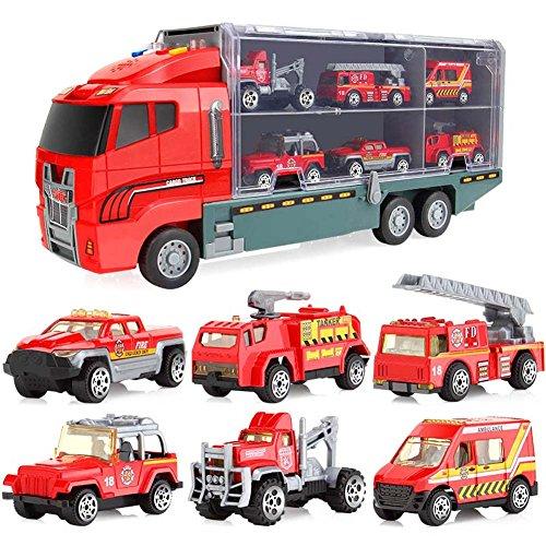 Zeal 6 Pcs/7 Stück Auto Kinder Traktor Geschenk Spielzeug Legierung Rollen Glissière Auto Spielzeug Spielzeug Spielzeug Geschenk, Firetruck (7pcs)
