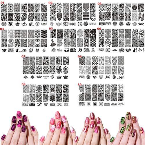10 x Stamping-Schablonen für Nagelkunst, bedrucktes Tier-Spitzen-Blumen-Leoparden-Muster,...