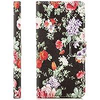 Coque Samsung Galaxy A5 (2016) Housse Etui Flip Cover Wallet Case avec Poche intérieur Cover Haute Qualité Schwarz Blumen Rosen