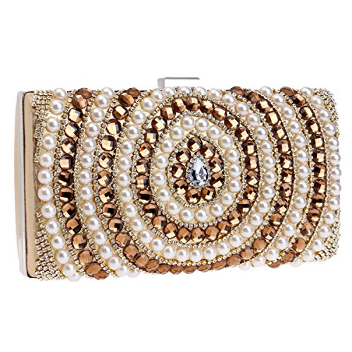 LAIDAYE Mode Dame Mit Abendtasche Messenger Bag Gold