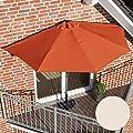 Sonnenschirm halbrund rechteckig für Balkone oder Terrassen Polyester/Metall ca. 270 cm breit beige von PureDay - Gartenmöbel von Du und Dein Garten