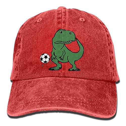 ferfgrg Unisex Cute T-Rex Dinosaur Playing Soccer Vintage Jeans Baseball Cap Classic Cotton Dad Hat Adjustable Plain Cap HI536
