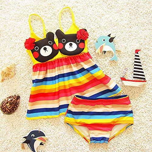 ZXCVBW Baby Mädchen Bademode Schöne Regenbogen Streifen Niedlichen Cartoon Bär Pool Schwimmen Kleidung Mädchen Badeanzug Sommer Strand Süßer Bikini, Regenbogen, XL