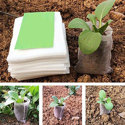 Woopower semis Sacs de chambre d'enfant, 100 pcs/lot de tissu non tissé biodégradables Pots semis Raising Sacs Jardin Fournitures, 8 x 10,1 cm/14 x 16 cm/20,1 x 22,1 cm 20*22cm/7.9''*8.7'' blanc