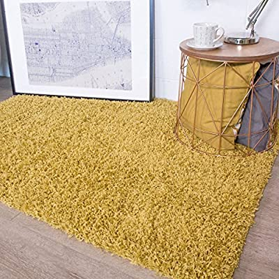 Soft Touch Shaggy Gold Ochre Thick Luxurious Soft 5cm Dense Pile Rug. Available in 9 Sizes produced by Rugs Supermarket - uk online web store
