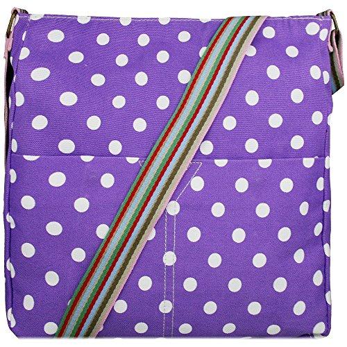 Donna, motivo floreale con farfalla, motivo a pois, in tela Polka Dot Purple
