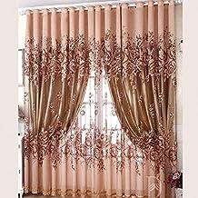 Hoomall Transparent Gardinen Wohnzimmer Voile Vorhang Dekoschal Vorhnge Schlaufenschal Blumen Braun BH 100cmx250cm