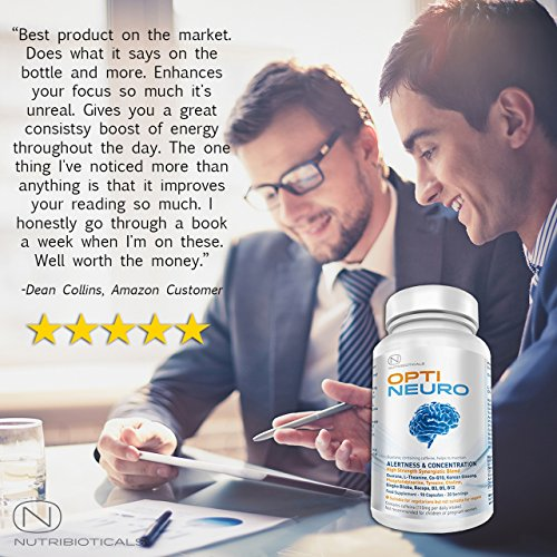 Optineuro® for Increased Focus, Concentration + Memory Backed by Science Nootropic Brain Food Supplement | Premium Nootropic Stack with Guarana, L-Theanine, Choline, Ginseng, Bacopa, TMG, Gingko Biloba, Tyrosine, Phosphatidylserine (PS), Coenzyme Q10, B12 (Methylcobalamin) and more | 5760mg ACTIVE per serving | 90 Capsules