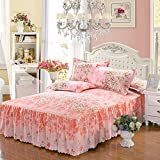 Yunhigh Floral Fitted Valance Bed Sheet & 2 Pillowshams, Ruffle Queen Size Bed Skirt Cotton Elastic Frilled Bedspread