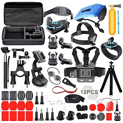 DEYARD ZG-634 GoPro Accessories Kit Set of 4 for GoPro HD Hero 1 2 3 &3+: Head Strap Mount + Chest Harness with J-hook Mount + Wrist Mount + Extendable Handheld Monopod with Tripod Mount + 2pcs Thumbscrew + DEYARD Superfine Fiber Cloth - Head and...